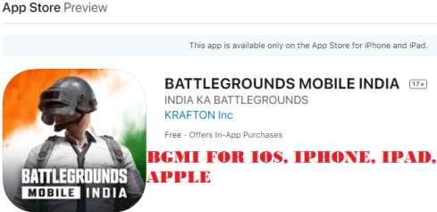 BGMI for ios, iphone, ipad, apple